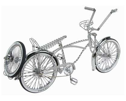 LOW RIDER LOWRIDER BIKE Full Double Twisted Swirl Steering Wheel Chrome