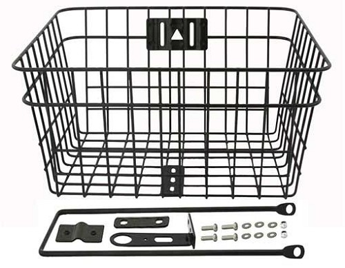Steel Wire  Bike Basket W/Braces Black