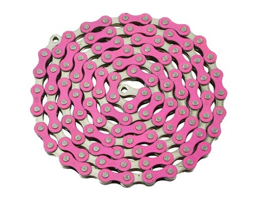 YBN bicycle Chain 1/2x1/8x112 Pink/Chrome.