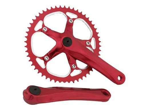 Bicycle Alloy Chainwheel Set 52T x 175mm Red.