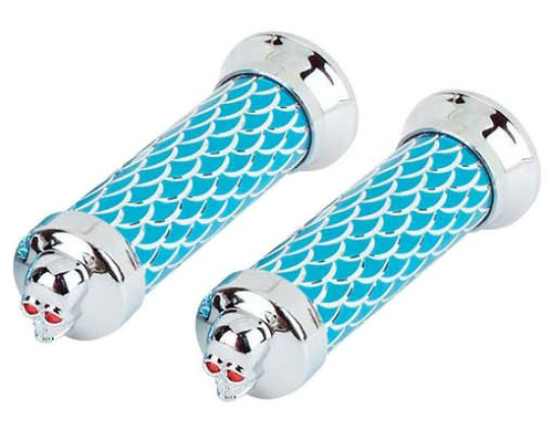 Bicycle Grips Scales Blue/Chrome 126 Skull.