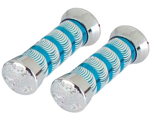 Bicycle Grips Swirl Blue/Chrome 9518 Eagle.