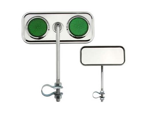 Rectangle Mirror Chrome Green Reflectors.