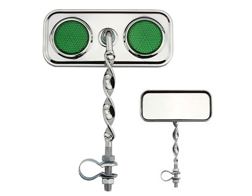 Rectangle Flat Twisted Mirror  Green Reflectors.