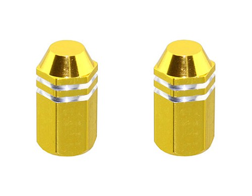 Bike Hex Finned Valve Caps Gold, Schrader/Valve. 244472