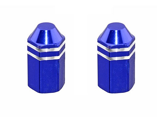 Hex Finned Valve Bicycle Caps Blue.