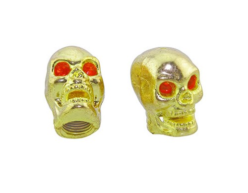 Skull Valve Bicycle Caps Gold.